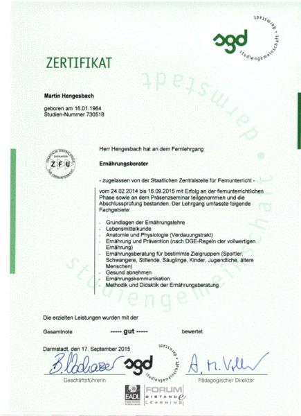 Coaching für Sport, Gesundheit & Ernährung - Zertifikate